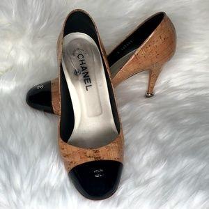 CHANEL Cap-Toe Cork Heels Size 9